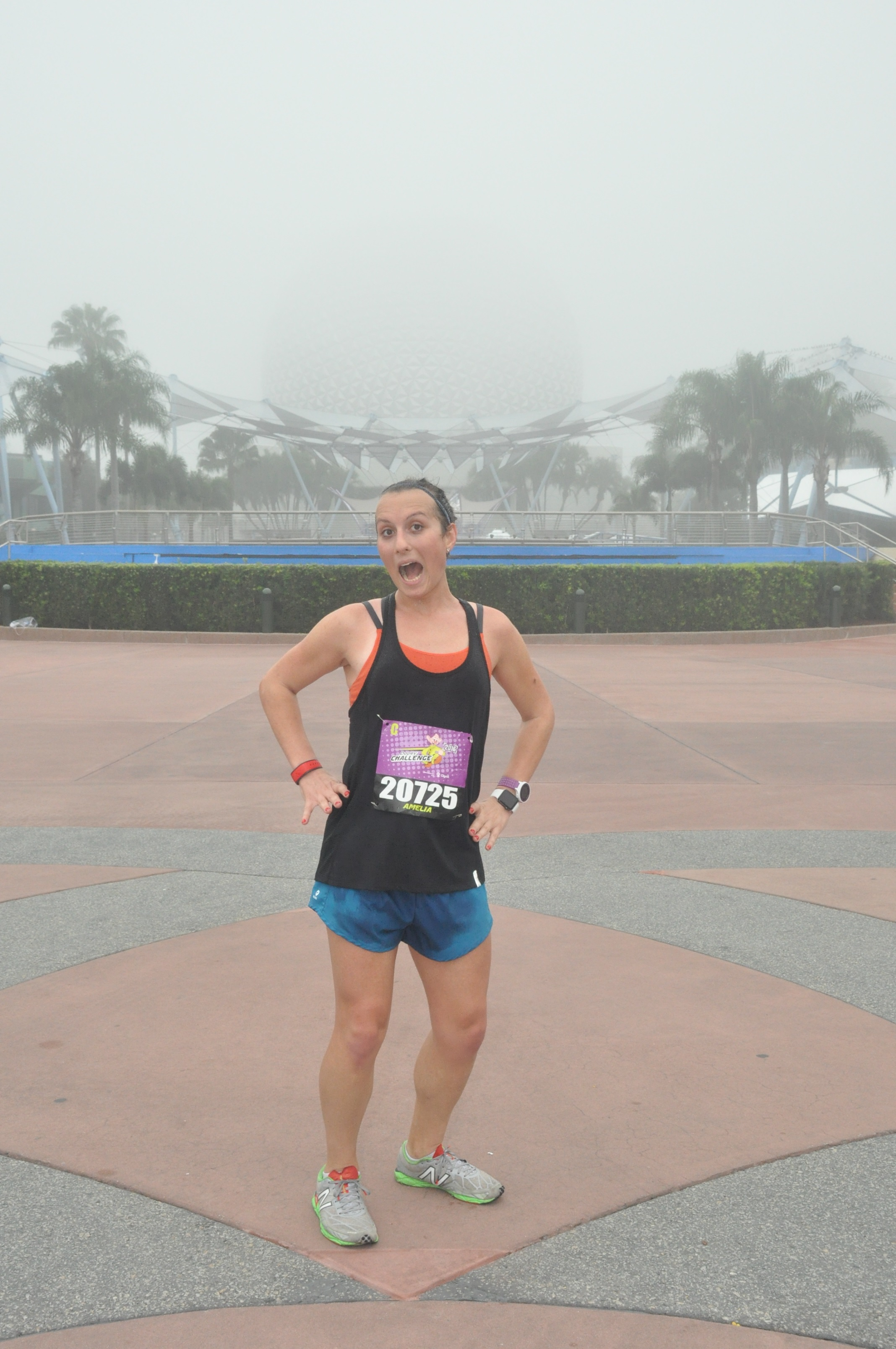 It was SO foggy all race. I promise you Spaceship Earth is behind me here!