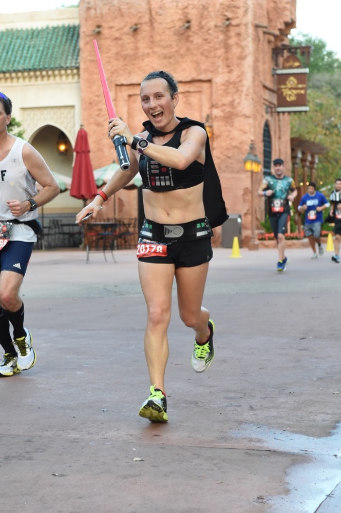Amelia in World Showcase at runDisney Star Wars Dark Side Half Marathon