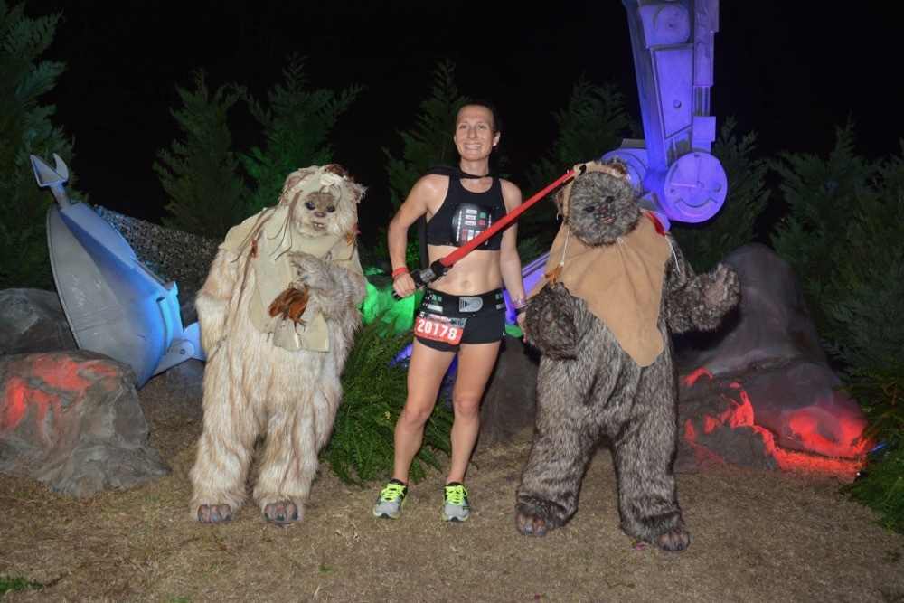 Amelia with ewoks at runDisney Star Wars Dark Side Half Marathon