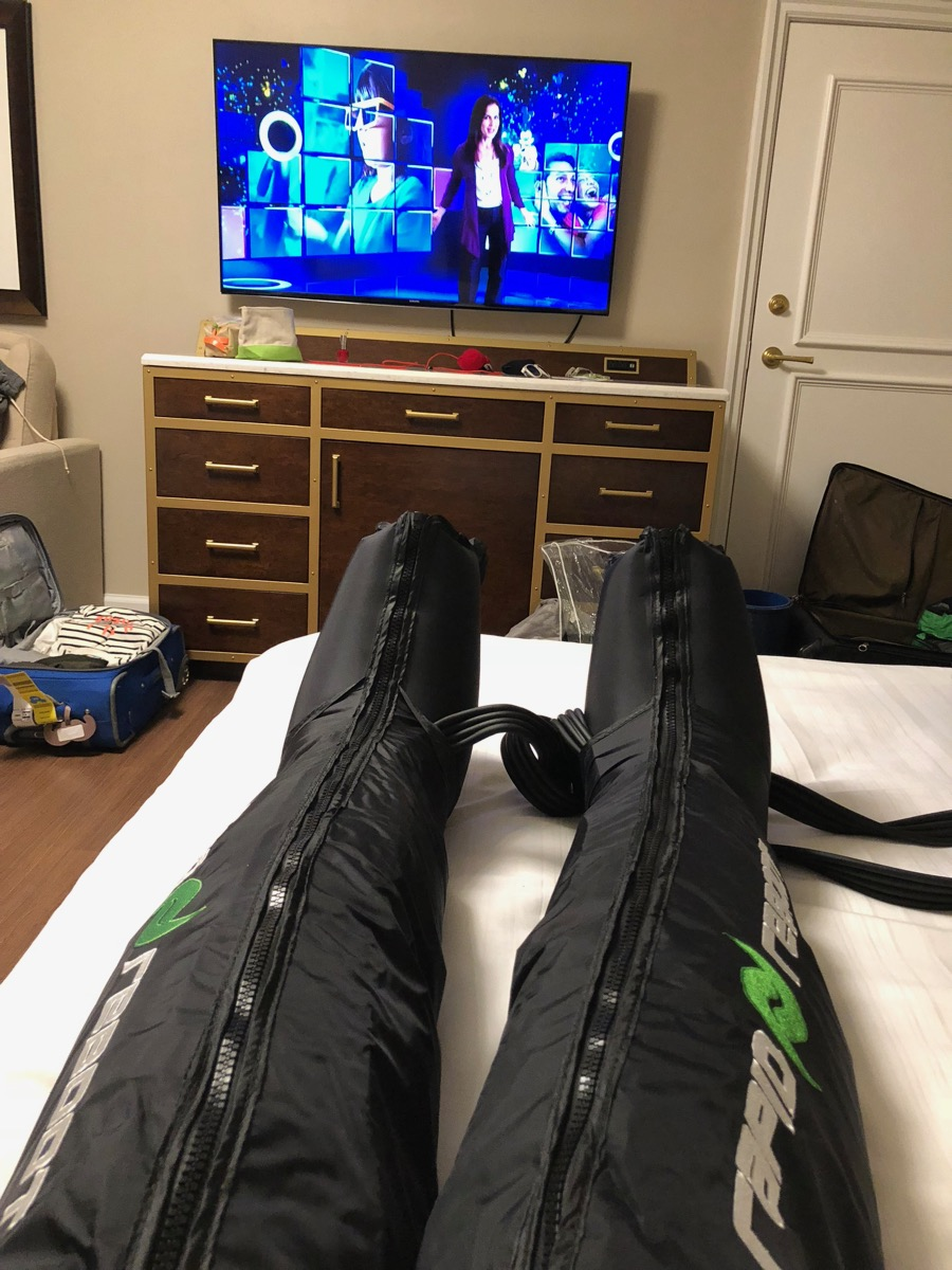 Amelia using Rapid Reboot recovery sleeves in the hotel